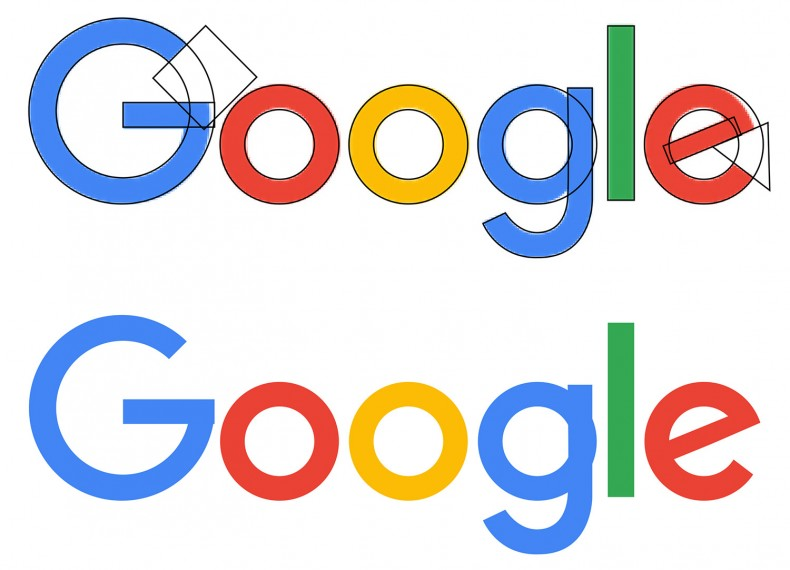 The new Google logo built with 10 circles, 2 rectangles, 1 polygon, and 1 Bezier path.