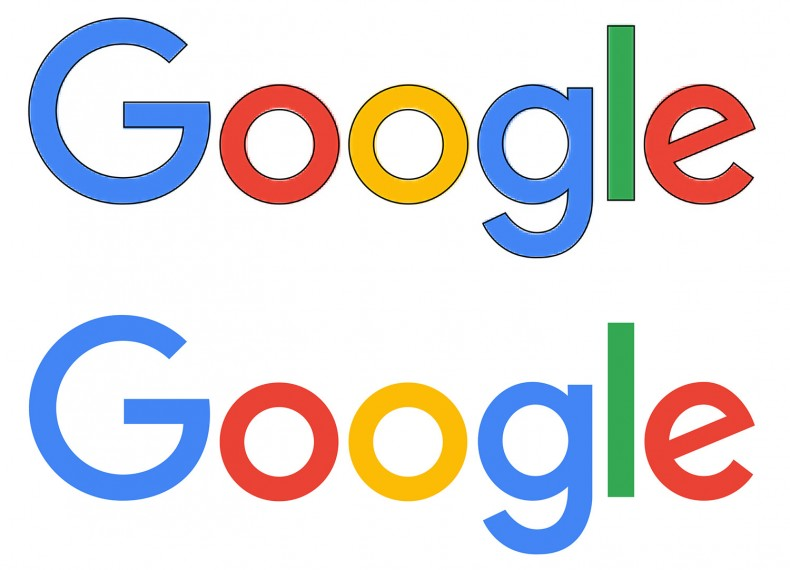 The new Google logo in 4 circles, 1 rectangle, and 3 Bezier paths.